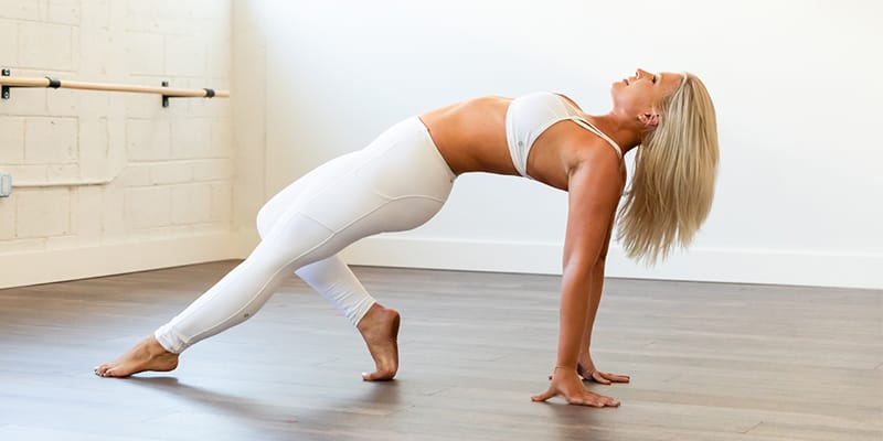 Woman with a strong core showing exercises
